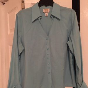 Talbots Blue Wrinkle Resistant Blouse - Size 18